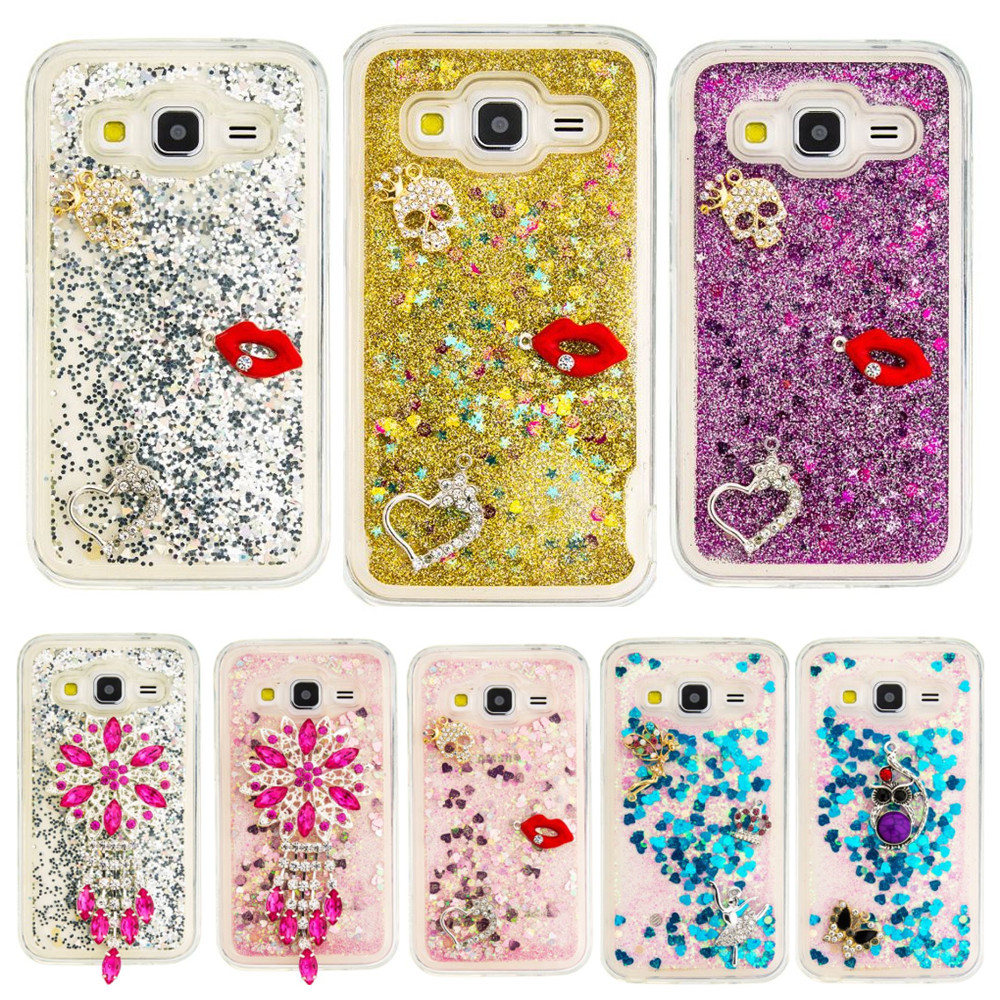 DEEVOLPO Bling Glitter Rhinestone Moving Quicksand Soft TPU Case Samsung Galaxy Core Prime G360 G360H G3606 G3608 Cover DP31