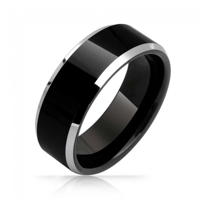 Weekend Deals 8mm Mens Two Tone Black Tungsten Ring Flat Top Beveled Wedding Band Finger Ring
