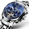 Luxury Swiss Brand Watches KINYUED Men Automatic Mechanical Watch Steel Bracelet Skeleton Flying Design J014