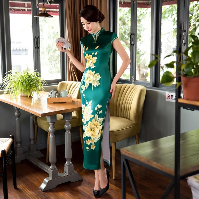 มาใหม่สตรีซาตินยาวCheongsamจีนแฟชั่นสไตล์การแต่งกายที่สวยงามบางQipaoรสเสื้อผ้าขนาดSml XL XXL F072638 ถูก