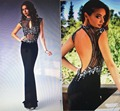 Sexy Backless Long Black Prom Dresses for Prom 2016 New Arrival Sparkly Crystal Beaded See Through