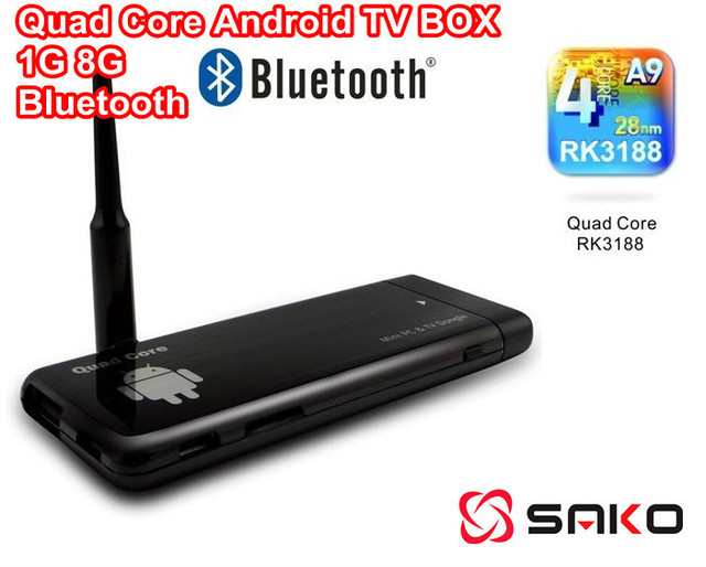 Free shipping CX-919 RK3188 Quad Core Android TV BOX 1GB 8GB  With Bluetooth HDMI 1080P MINI PC External WIFI Antenna XBMC