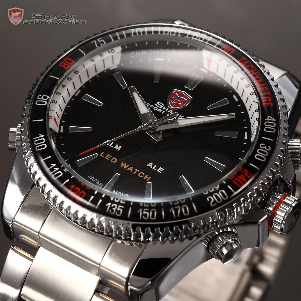 SHARK Analog Digital LED Date Alarm Silver Stainless Full Steel Rotate Bezel Black Dial Men's Sports Quartz Wristwatch / SH003(China (Mainland))