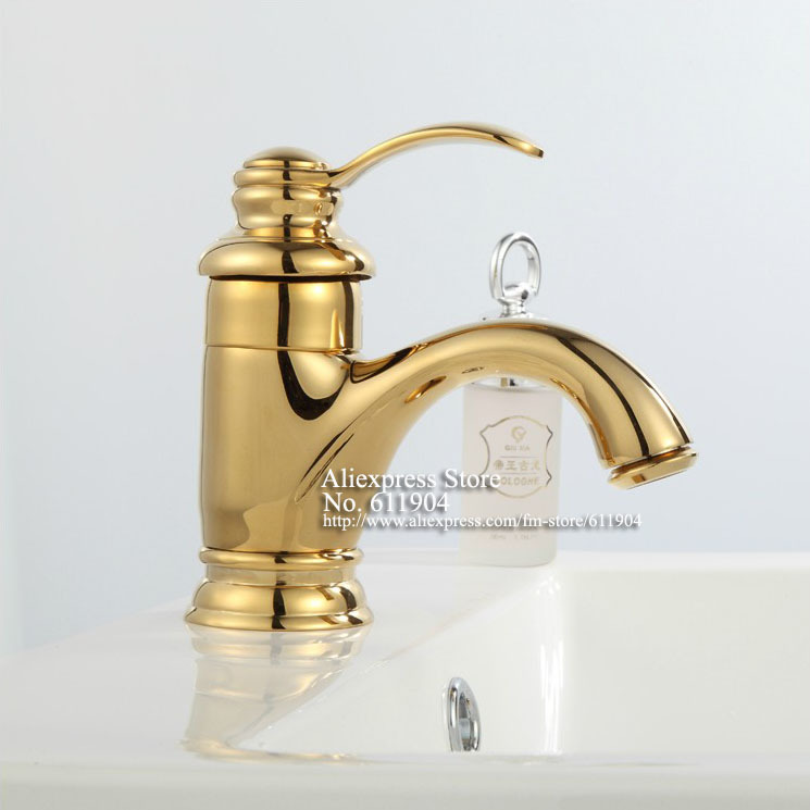 Gold Bathroom Sink Taps Luxury Single Handle Brass Gold Color Bathroom Bath Vessel