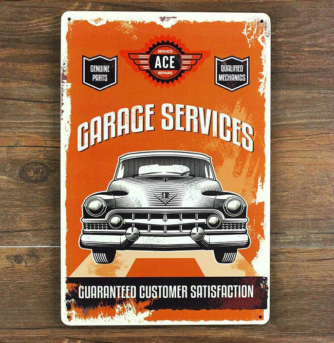 home decor Garage services guaranteed Antique Tin Signs(China (Mainland))