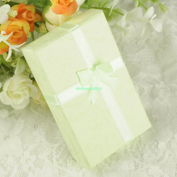 8*5*2.5cm Jewelry Boxes Jewelry Ring Earring Necklace Green Carton Present Gift Box Bow Case ES4560 (China (Mainland))
