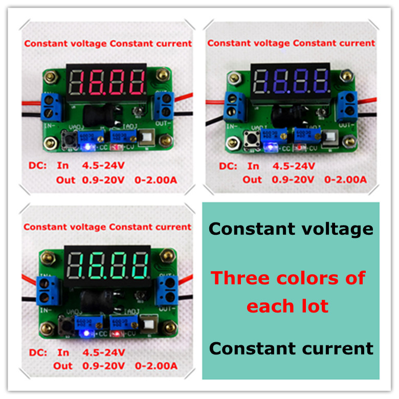 Three colors of each lot DC-DC Adjustable Constant voltage/current Voltmeter Ammeter Step-Down Supply Power Module [3piece/lot](China (Mainland))