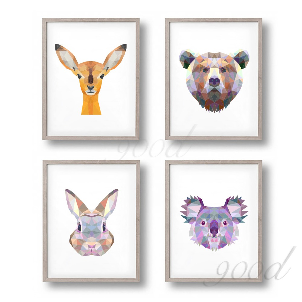 Triangle Animal Set Canvas Art Print Painting Poster Wall