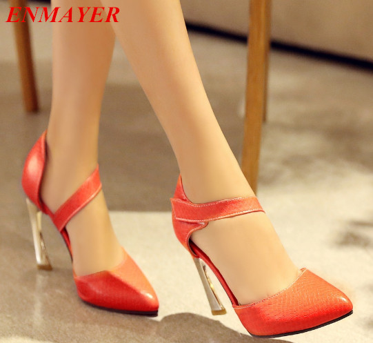 ENMAYER Hoof Heels Hook & Loop Leisure women pumps Spring/Autumn Square heel Platform pumps Square heel Pointed Toe shoes women