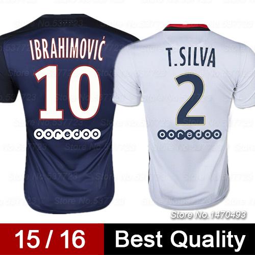 Top AAA Quality 15 16 IBRAHIMOVIC Soccer Jerseys T.SILVA CABAYE DAVID LUIZ Survetement Football Jerseys Camisetas De Futbol(China (Mainland))