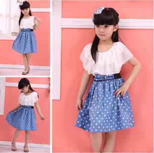 Girls dot dress princess dress summer 2015 bow cotton girl dress vestidos kids clothes girls clothes