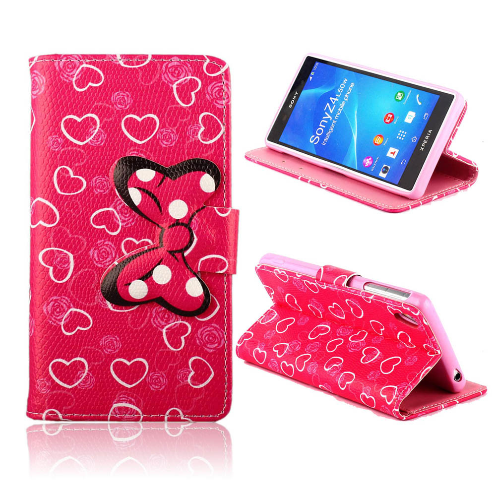 New arrival hot fashion girly love pink heart flip leather style cover case by for Sony Xperia Z4 3D bow-knot stand card holder(China (Mainland))