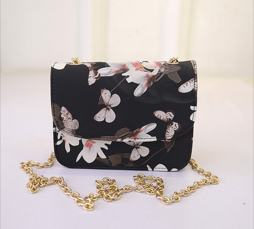 New Arrival Butterfly Floral Pattern Women Messenger Bags Mini Lady Leather Shoulder Bags Chain Bling Clutch Bag Shoulder Bag