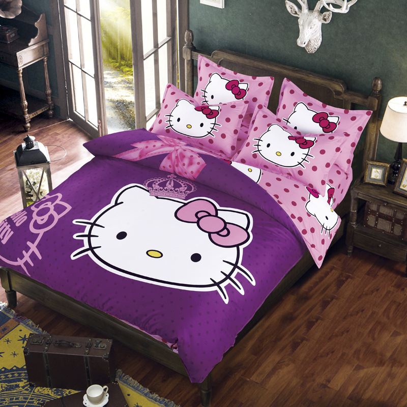 Promotion New Design 2015 Hello Kitty Bedding Set 4pcs Cotton Cartoon Bed Linen Kid Bedclothes