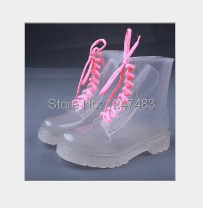 PVC Transparent Girls Rain Boots Candy Jelly Color Crystal Clear Flats Heels Water Shoes Female Rainboot Martin footwer style<br><br>Aliexpress