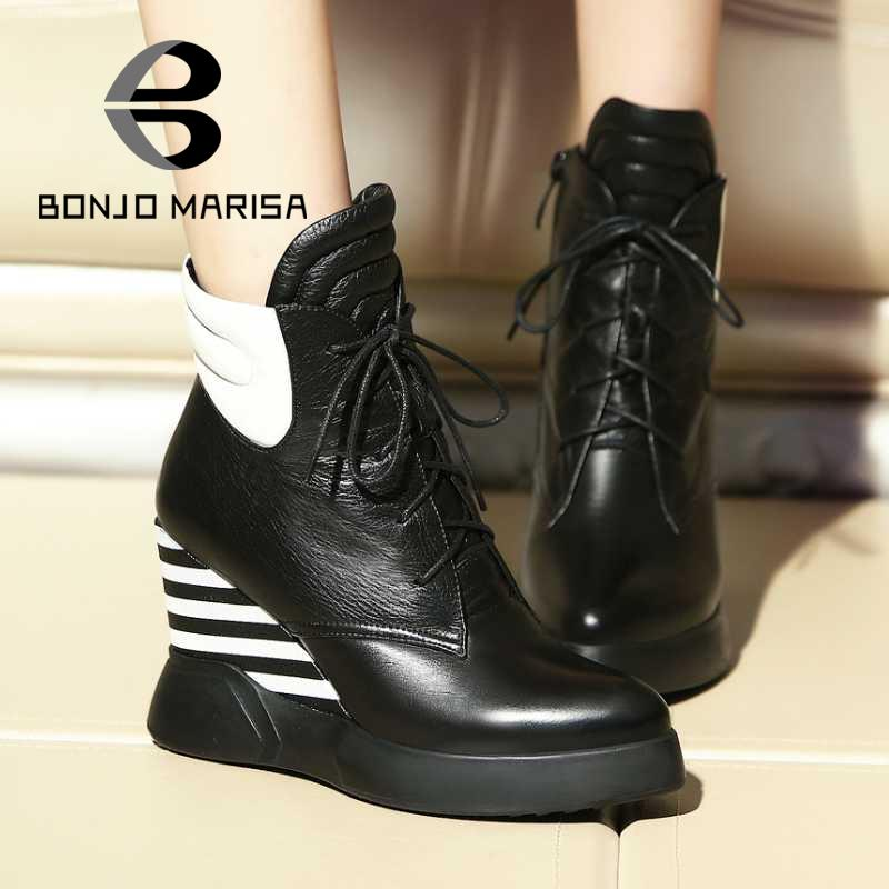2015 Genuine Leather+PU Women Shoes Lace Up Design Flanging Zip Round Toe Platform Shoes Ankle Boots High Heels Women Wedges  <br><br>Aliexpress