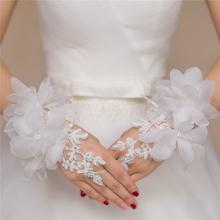 Prezzo a buon mercato 2016 senza dita fiore da sposa in pizzo breve guanti luvas de noiva moda sposa guanti rosso bianco BG-005(China (Mainland))