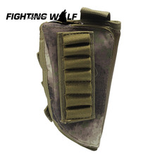 Tactical Military Airsoft Rifle Stock Ammo Pouch Quality Nylon Gun Pouch with Cheek Leather Pad Hunting Shotgun Cartridge Bag @