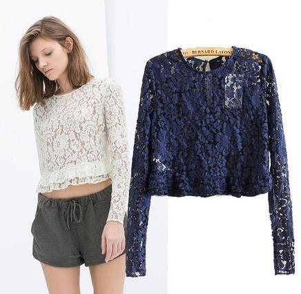 Sexy Women Lace Shirt New 2015 Spring Long Sleeve Lace Crochet Blouse Tops Ladies Short Design Slim Lace Shirt Smock(China (Mainland))