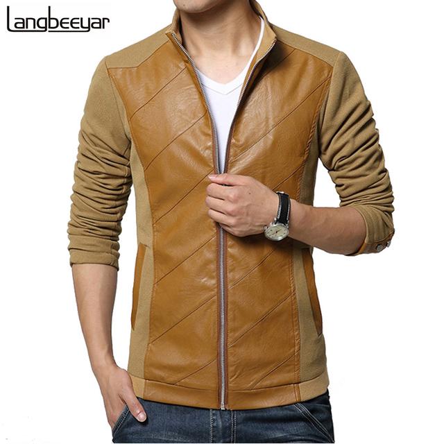 2016 Новый Модный Бренд Мужская Куртка Кожа PU является высокотехнологичным и высокосортным ...