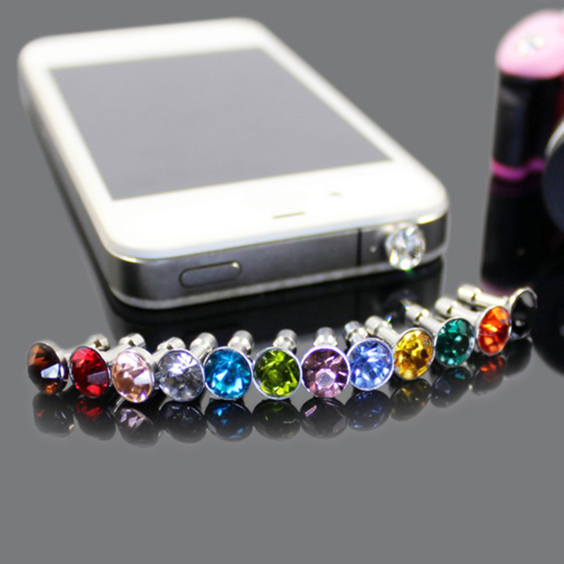 100pcs/Lot 3.5mm Earphone Jack Dust-proof Plug Cell Phone Accessories Universal Diamond Rhinestone Stopper Cap For Mobile Phone(China (Mainland))