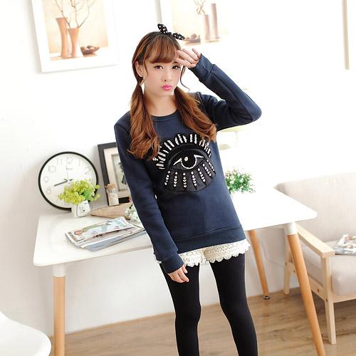 Женские зимние 2014 пр наряд пуловеры плюс бархат мультфильм аппликация футболка верхняя одежда