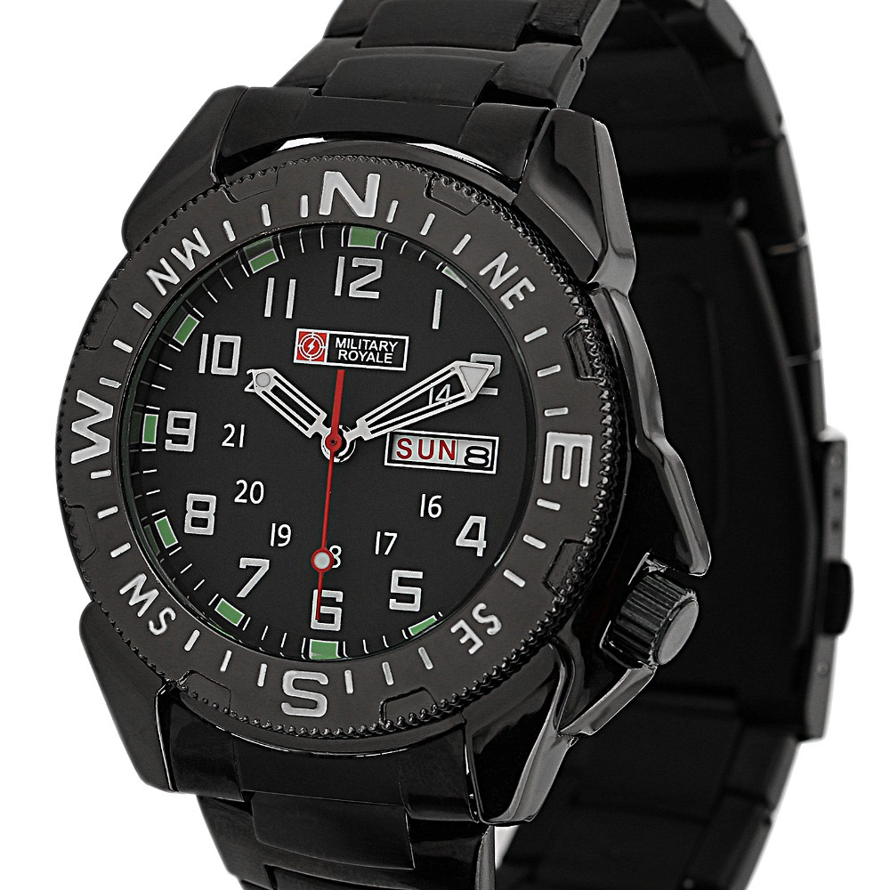 Military Royale Black Brand Design Men's Stainless Steel GMT Army Time Display Watch MR022 - ESS INDUSTRIAL LTD Store store