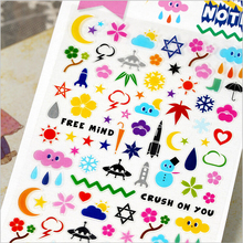 Sonia Transparent PVC stationery sticker space note Outer space students diary stickers School Supplies Book decoration paster(China (Mainland))