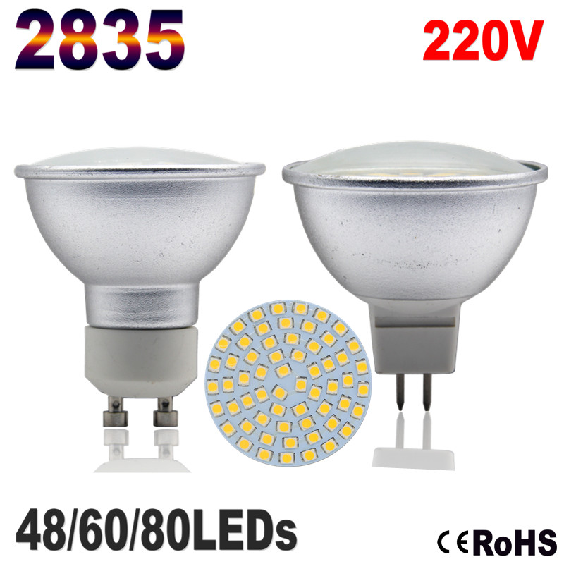 2835 Lampada LED Lamp Aluminum Bombillas LED Spotlight GU10 Ampada LED Bulb MR16 220V 48 60 80 Spot Lights Candle Luz Chandelier(China (Mainland))