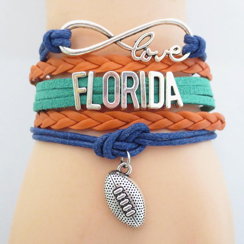 Infinity Love Florida State Football Sports Team Bracelet navy blue orange Customize Sport friendship Bracelets B09020(China (Mainland))