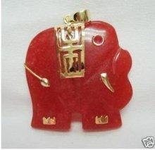 Jewelry Red Jade Elephant Pendant + chain(China (Mainland))