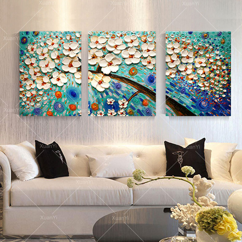 Hand Painted Abstract Modern Art Decor Flower Palette Knife Painting Oil Canvas 3 Panels Wall Art Picture Sets For Home Decor(China (Mainland))