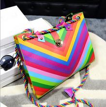 2015 New Women Rainbow Chain Color Bag Ladies Rivet Leather Crossbody Shoulder Bag Brand Party Bags