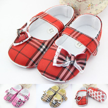 Cute Baby Kids Girls Shoes Bowknot Plaid Non-Slip Soft Toddler First Walkers Autumn Spring Brand New(China (Mainland))