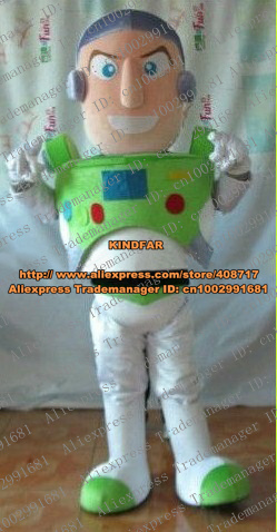Smart White Buzz Lightyear Toy Story Mascot Costume Adult Size Toy With White Skin Green Shoes White Pants No.4180 Free Ship(China (Mainland))