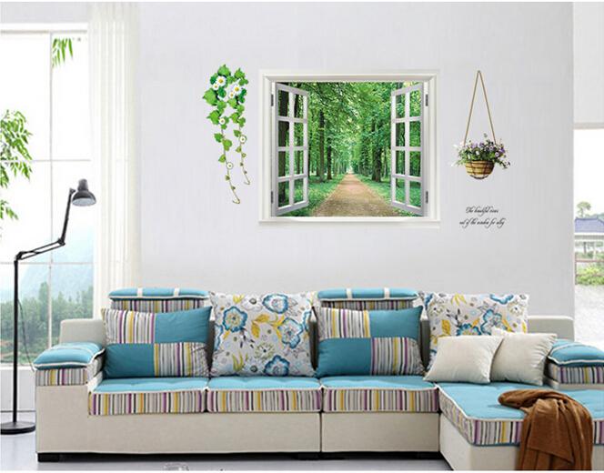 New Wall Sticker Window Avenue Green Vision Home Decor