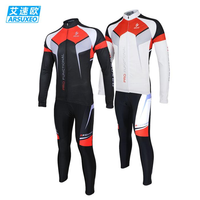 2015 ARSUXEO Mens Cycling Long Sleeves MTB Jersey Bike Bicycle Sets Shirts Wear Suits Uniforms Bib Pant ZLSO7X(China (Mainland))