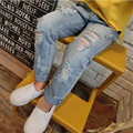Kids Girl Jeans 2016 Fashion Big Hole Denim Trousers Loose Straight Light Blue Pants Children Girls