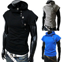 Buy Summer Men t Shirts 2017 Fashion Slim Fit Tops Tees Hooded Short Sleeve T Shirt Mens Clothing Casual Tee Shirts hombre t-shirts for $10.26 in AliExpress store