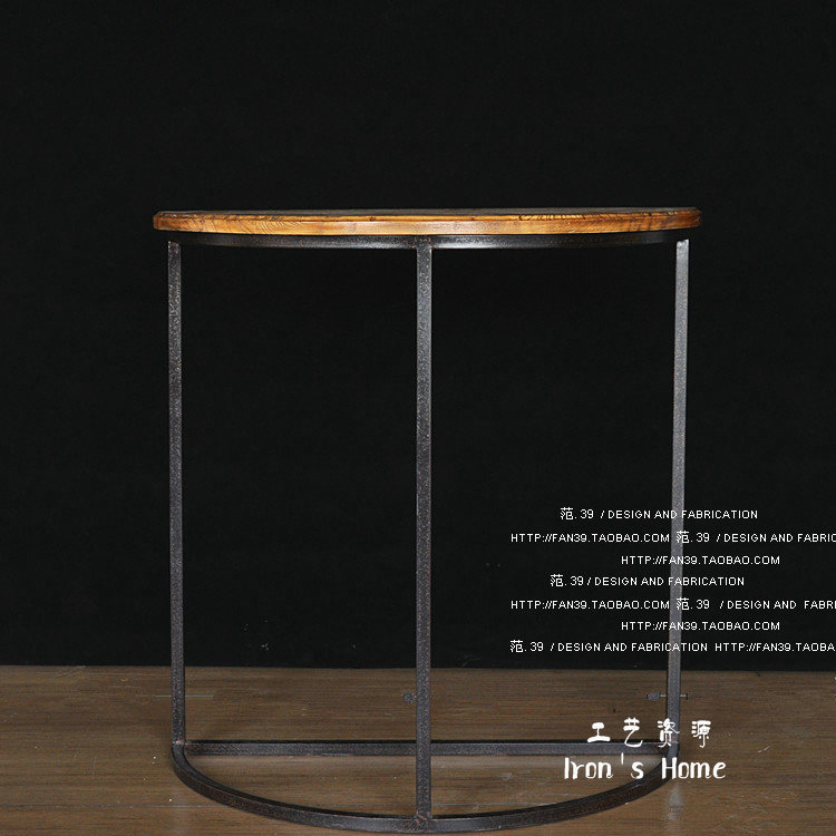 LOFT American country style wood industry hob surface semicircle retro coffee table bar table bar(China (Mainland))