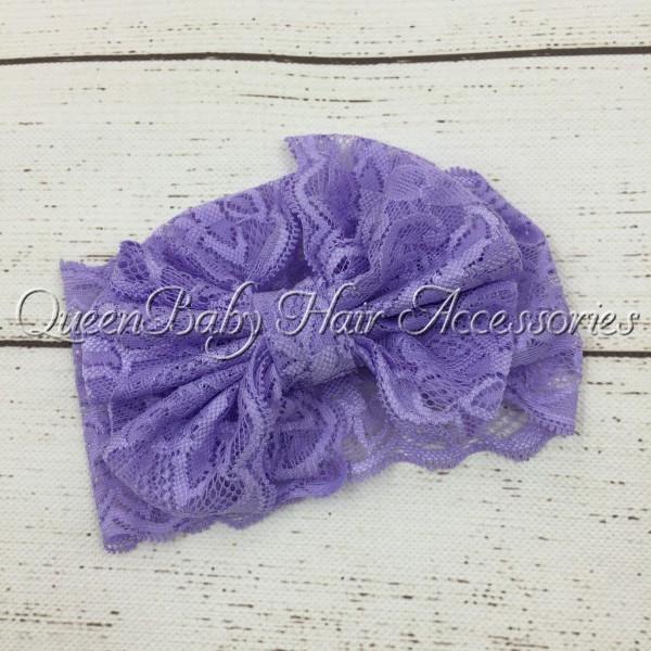 Retail 1pcs Lace Bow Headwrap Lace Bow Headband Handmade Bow(China (Mainland))