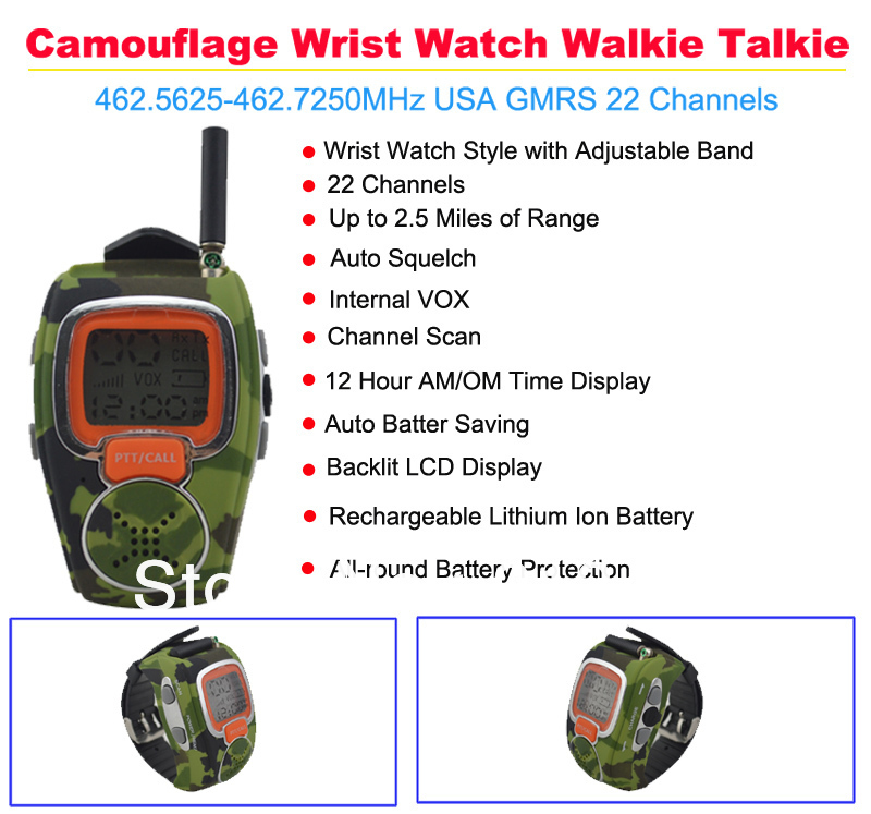 2pcs/lot Camouflage Wrist Watch Walkie Talkie 462.5625-462.7250MHz USA GMRS 22 Channels(China (Mainland))