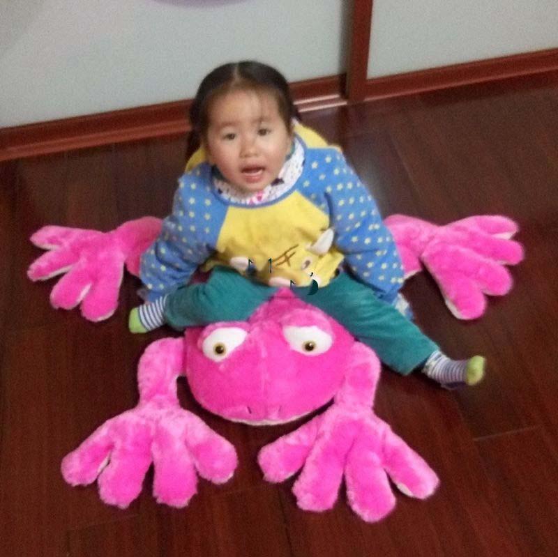 New Big Stuffed Animal Frog Doll Plush Soft Cute Cartoon Frog Toy 2 Colors Nice Baby Present Free Shipping(China (Mainland))