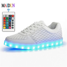 Remote Control Men Colorful glowing shoes with lights up led luminous shoes simulation sole led shoes for adults neon basket led(China (Mainland))