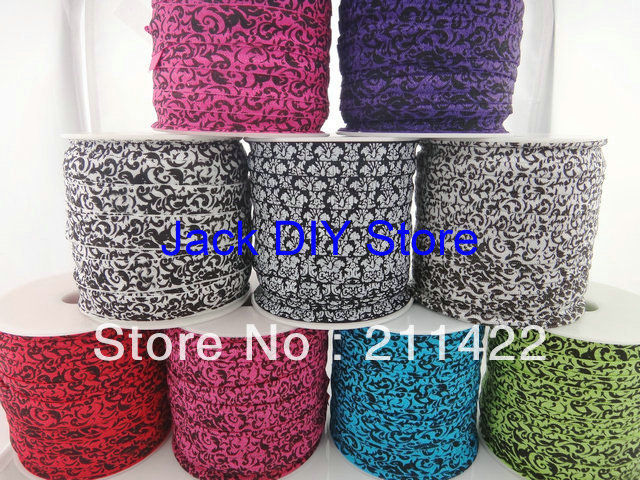 Black White5/8  Damask FOE Fold Over Elastic 50 Yards for headband Hair Ties Hair Accessories Free Shipping You PICK 1 COLOR