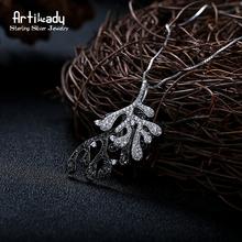 Artilady тонкий нерегулярные лист дизайн с CZ камень кулон ожерелье стерлингового серебра 925 Ювелирных Изделий для женщин подарки(China (Mainland))