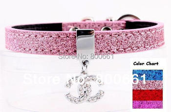 MOQ:12pcs!(4colors available)Free Shipping!12MM Paillette Small Dog Collar With CC/Heart Charm