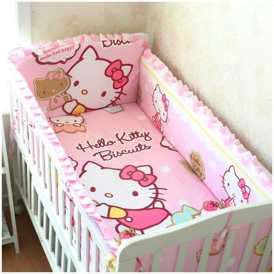 Promotion! 6PCS Hello Kitty Baby Bedding Set Cotton Carton For Baby Girl ,include:(bumper+sheet+pillow cover)<br><br>Aliexpress