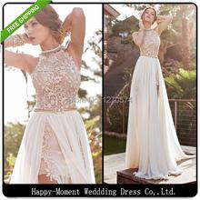 2016 A Line Front Slit Chiffon Elegant Two Pieces Beach Wedding Dress 2016 Detached Train Bridal Gown vestido de noiva (SL-W04)(China (Mainland))