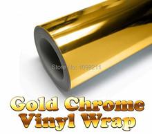 100 mm x 1520 mm or or Chrome Air sans bulle miroir 4 » x 60 » vinyle Wrap Film autocollant feuille d'autocollants de voiture Motor Bike couvercle du corps